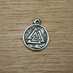 Valknut (Odins mark) in bronze , approx 25mm across and 5mm thick. Can be inlayed with resin like the triscals for an extra £3  £10 in bronze with either a split ring or neck cord