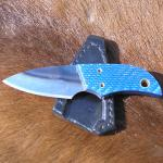 "Model and No.:…..Blue Paw (0274)  Blade Length…….3"" Overall Length…...4 ½"" Blade………O1 carbon steel, filed finish Handle…………..Blue Carbon Fibre Furniture……...Brass pin and thong tube  Sheath…………….Black pocket sheath"
