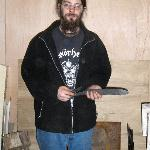 Chris with his day's work: two blades